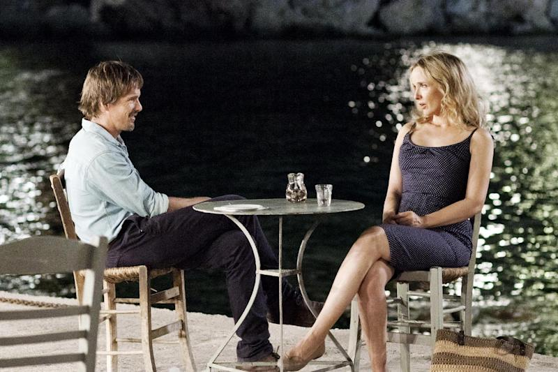 """This undated publicity photo released courtesy of Sony Pictures Classics shows Ethan Hawke, left, as Jesse and Julie Delpy as Celine, in the film, """"Before Midnight,"""" directed by Richard Linklater. (AP Photo/Sony Pictures Classics, Despina Spyrou)"""