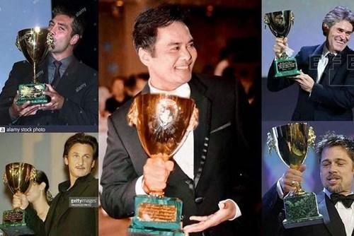 John shared this image on his social media; a collage of some of the actors who had won the Volpi Cup in the past