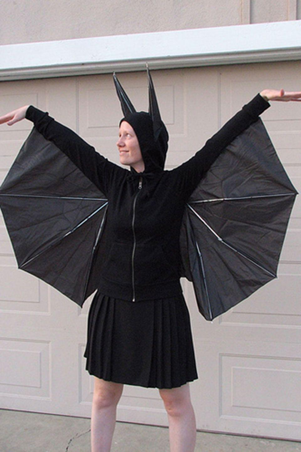 """<p>Find a new use for that broken umbrella. </p><p><strong>Get the tutorial at <a href=""""http://www.evilmadscientist.com/2006/how-to-build-a-better-bat-costume/"""" rel=""""nofollow noopener"""" target=""""_blank"""" data-ylk=""""slk:Evil Mad Scientist"""" class=""""link rapid-noclick-resp"""">Evil Mad Scientist</a>. </strong></p>"""