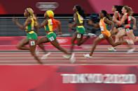 <p>TOPSHOT - Jamaica's Elaine Thompson-Herah (4), Jamaica's Shelly-Ann Fraser-Pryce (5) and amaica's Shericka Jackson (7) compete in the women's 100m final during the Tokyo 2020 Olympic Games at the Olympic Stadium in Tokyo on July 31, 2021. (Photo by Andrej ISAKOVIC / AFP) (Photo by ANDREJ ISAKOVIC/AFP via Getty Images)</p>