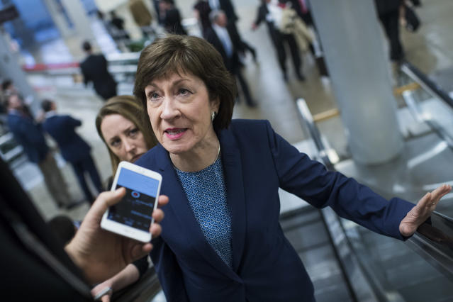 Sen. Susan Collins, R-Maine, at the Capitol. (Photo: Tom Williams/CQ Roll Call)
