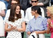 <p>Kate Middleton and Meghan Markle attend Wimbledon together.</p>