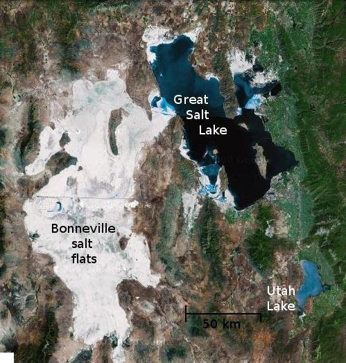 Google maps view of the Great Salt Lake, which are surrounded by a large evaporite deposit.
