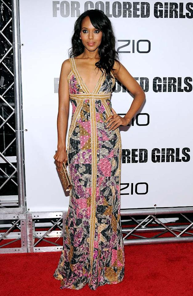 "Also in the Big Apple was Kerry Washington, who must have had a bit of divine inspiration when she paired her fab printed Missoni maxi dress with loose locks and a beautiful gold clutch at the premiere of her film, ""For Colored Girls."" George Napolitano/<a href=""http://www.filmmagic.com/"" target=""new"">FilmMagic.com</a> - October 25, 2010"