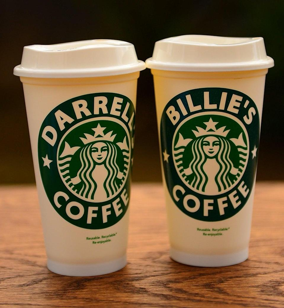 <p>Get this <span>Personalized Name Starbucks Cup</span> ($18) customized with anything you want.</p>