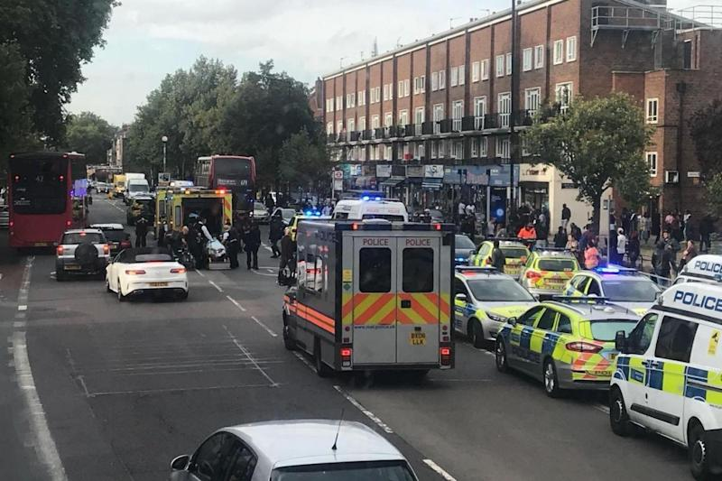 A large police presence at the scene of the stabbing yesterday