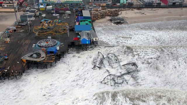 Aerial of submerged roller coaster at Seaside Heights Image credit: Master Sgt. Mark Olsen/AP Photo