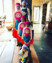 """<p>The <em>Grey's Anatomy</em> alum and her fam, including her singer hubby Josh Kelley, were nesting dolls. """"The big reveal! Well … it's Big to me at least!"""" she wrote. """"I realize we look like we could be a bunch of bakers, chefs, or flight attendants but we are in fact RUSSIAN NESTING DOLLS! Hahahah! I'm sorry, I just think we all look hilarious! Family themed costumes may be a new tradition … at least as long as I can talk my kids into it!"""" (Photo: <a rel=""""nofollow noopener"""" href=""""https://www.instagram.com/p/Ba7N_a_he5l/?hl=en&taken-by=katherineheigl"""" target=""""_blank"""" data-ylk=""""slk:Katherine Heigl via Instagram"""" class=""""link rapid-noclick-resp"""">Katherine Heigl via Instagram</a>) </p>"""