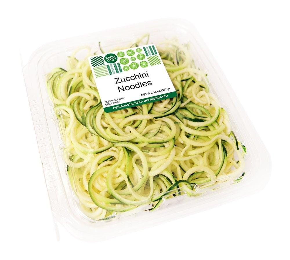 "<p>If you want a clean pasta, these <a href=""https://www.popsugar.com/buy/Whole-Foods-Market-Zucchini-Noodles-474223?p_name=Whole%20Foods%20Market%20Zucchini%20Noodles&retailer=amazon.com&pid=474223&price=7&evar1=fit%3Aus&evar9=46561204&evar98=https%3A%2F%2Fwww.popsugar.com%2Ffitness%2Fphoto-gallery%2F46561204%2Fimage%2F46561218%2FWhole-Foods-Market-Zucchini-Noodles&list1=shopping%2Camazon%2Cpasta%2Chealthy%20dinners&prop13=api&pdata=1"" rel=""nofollow"" data-shoppable-link=""1"" target=""_blank"" class=""ga-track"" data-ga-category=""Related"" data-ga-label=""https://www.amazon.com/Whole-Foods-Market-Zucchini-Noodles/dp/B07BZPHFV4/ref=sr_1_5?fpw=fresh&amp;keywords=zucchini+noodle&amp;qid=1564606598&amp;s=gateway&amp;sr=8-5"" data-ga-action=""In-Line Links"">Whole Foods Market Zucchini Noodles</a> ($7) are the way to go; they've only got three grams of carbs per serving. We recommend sauteing them in the tiniest bit of olive oil on their own before adding any toppings or sauces so they don't get overly soggy.</p>"