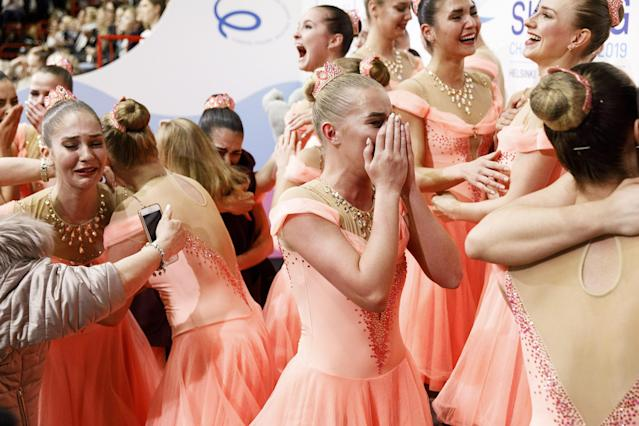 ISU World Synchronized Skating Championships 2019 - Free Skating - Helsinki, Finland - April 13, 2019. Team Paradise from Russia reacts after winning. Lehtikuva/Roni Rekomaa via REUTERS ATTENTION EDITORS - THIS IMAGE WAS PROVIDED BY A THIRD PARTY. NO THIRD PARTY SALES. NOT FOR USE BY REUTERS THIRD PARTY DISTRIBUTORS. FINLAND OUT. NO COMMERCIAL OR EDITORIAL SALES IN FINLAND.