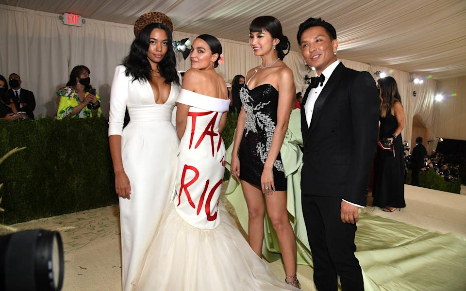 Alexandria Ocasio-Cortez sports a 'Tax the Rich' dress at New York's elite Met Gala - Kevin Mazur/MG21 /Getty Images North America