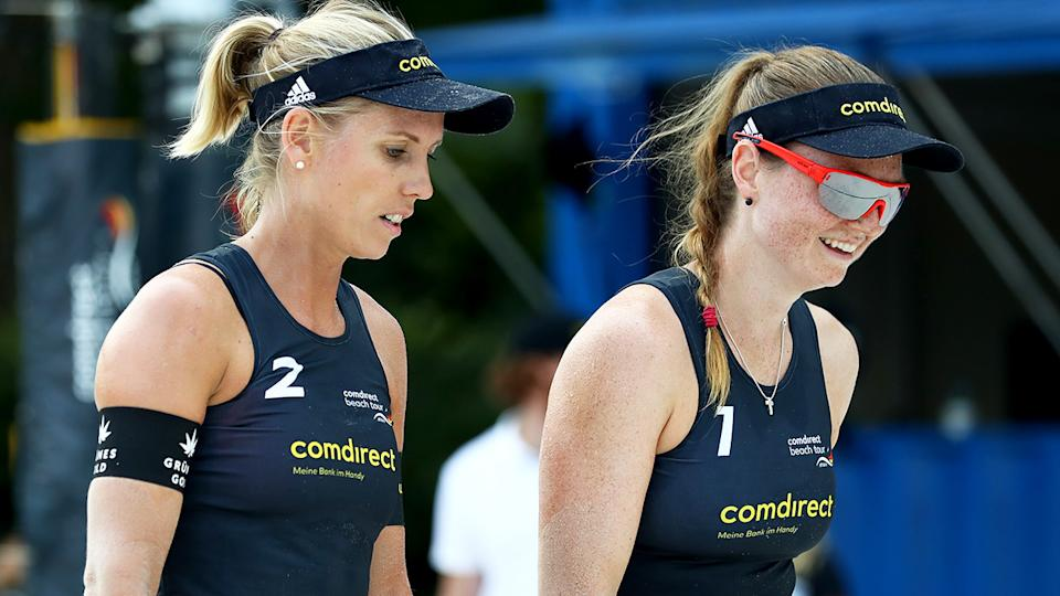 German beach volleyball stars Karla Borger and Julia Sade are planning on boycotting an upcoming tournament in Qatar after being asked not to ear the usual bikini uniforms in competition. (Photo by Martin Rose/Bongarts/Getty Images)