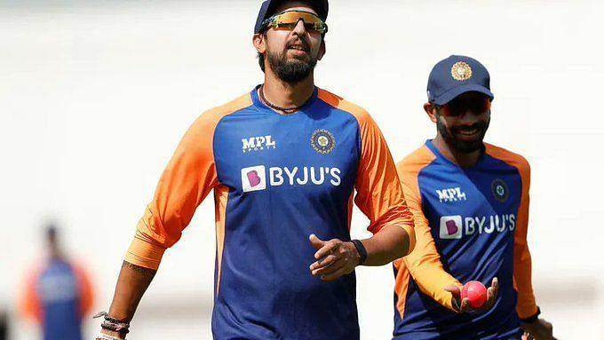 Jasprit Bumrah and Ishant Sharma during a training session.