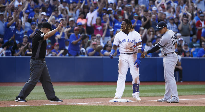 Vladimir Guerrero Jr. hit the first triple of his Major League career on Saturday. (Getty Images)