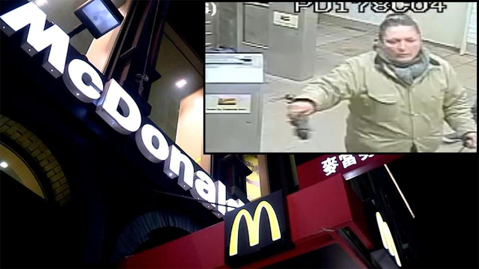 """Surveillance cameras caught the suspect as she fled into the Canal Street subway station. (Photo: Courtesy of <a href=""""https://abc7ny.com/woman-allegedly-attacked-man-with-chair-in-chinatown-mcdonalds/5231749/"""" rel=""""nofollow noopener"""" target=""""_blank"""" data-ylk=""""slk:ABC 7"""" class=""""link rapid-noclick-resp"""">ABC 7</a>)"""
