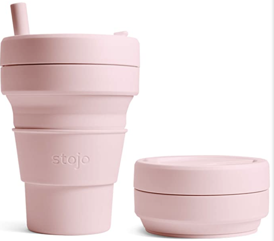 Stojo collapsible coffee travel cup with straw. PHOTO: Amazon