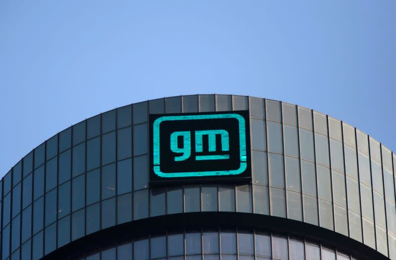 Logo of GM atop the company headquarters