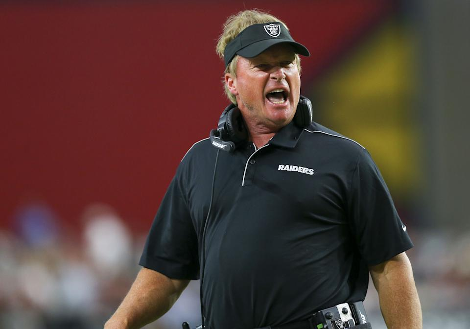 GLENDALE, AZ - AUGUST 15: Oakland Raiders head coach Jon Gruden during a NFL preseason game between the Oakland Raiders and the Arizona Cardinals on August 15, 2019 at State Farm Stadium, in Glendale, Az. (Photo by Kevin French/Icon Sportswire via Getty Images)