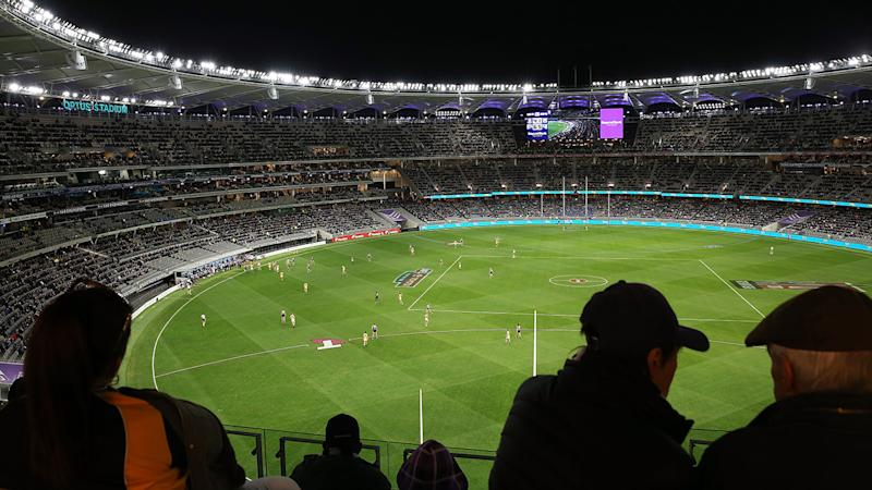 AFL fans, pictured here watching the clash between West Coast and Fremantle.