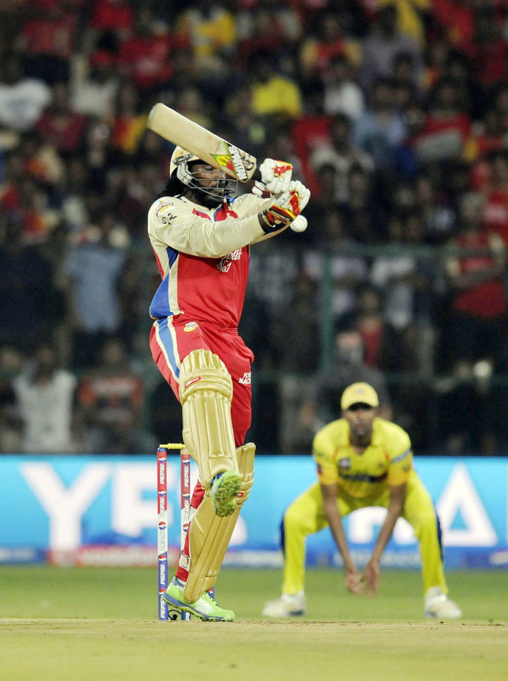 Chris Gayle of Royal Challengers Bangalore bats during match 70 of the Pepsi Indian Premier League between The Royal Challengers Bangalore and The Chennai Superkings held at the M. Chinnaswamy Stadium, Bengaluru  on the 18th May 2013. (BCCI)