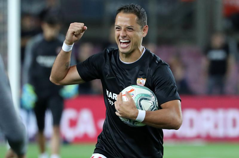 Javier Hernandez during the match between FC Barcelona and Sevilla FC, corresponding to the week 8 of the spanish Liga Santarder, on 06th October 2019, in Barcelona, Spain. (Photo by Joan Valls/Urbanandsport /NurPhoto via Getty Images)