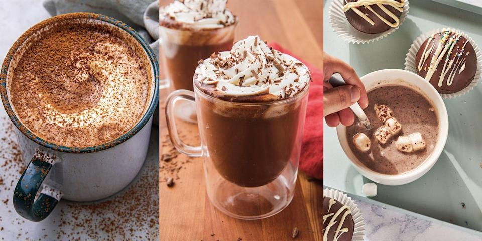 """<p>As the days get darker and the cold nights draw in, we'll 100% be reaching for our go-to <a href=""""https://www.delish.com/uk/cocktails-drinks/a31109876/best-hot-chocolate-recipe/"""" rel=""""nofollow noopener"""" target=""""_blank"""" data-ylk=""""slk:hot chocolate"""" class=""""link rapid-noclick-resp"""">hot chocolate</a> recipes. That being said, we're not just talking about any old hot chocolate recipes, we're talking about <a href=""""https://www.delish.com/uk/cocktails-drinks/a30312793/reeses-hot-chocolate-recipe/"""" rel=""""nofollow noopener"""" target=""""_blank"""" data-ylk=""""slk:peanut butter hot chocolate"""" class=""""link rapid-noclick-resp"""">peanut butter hot chocolate</a>, <a href=""""https://www.delish.com/uk/cocktails-drinks/a29261611/crock-pot-red-wine-hot-cocoa-recipe/"""" rel=""""nofollow noopener"""" target=""""_blank"""" data-ylk=""""slk:slow cooker red wine hot chocolate"""" class=""""link rapid-noclick-resp"""">slow cooker red wine hot chocolate</a> and more. Yep! There's lots of ways you can customise your hot choc. </p><p>From <a href=""""https://www.delish.com/uk/cooking/recipes/a35582788/hot-chocolate-bombs-recipe/"""" rel=""""nofollow noopener"""" target=""""_blank"""" data-ylk=""""slk:hot chocolate bombs"""" class=""""link rapid-noclick-resp"""">hot chocolate bombs</a> to <a href=""""https://www.delish.com/uk/cooking/recipes/a34104298/salted-caramel-white-hot-chocolate-recipe/"""" rel=""""nofollow noopener"""" target=""""_blank"""" data-ylk=""""slk:salted caramel hot chocolate"""" class=""""link rapid-noclick-resp"""">salted caramel hot chocolate</a>, we've listed 15 top-twists on your <a href=""""https://www.delish.com/uk/cocktails-drinks/a31109876/best-hot-chocolate-recipe/"""" rel=""""nofollow noopener"""" target=""""_blank"""" data-ylk=""""slk:classic hot chocolate"""" class=""""link rapid-noclick-resp"""">classic hot chocolate</a>. </p>"""