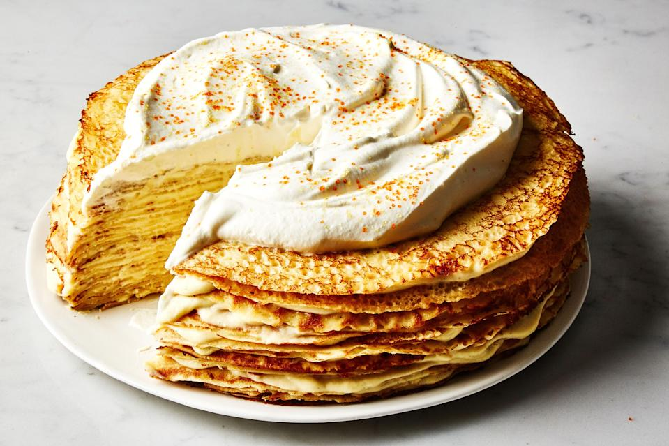"""<a href=""""https://www.bonappetit.com/recipe/crepe-cake-with-cardamom?mbid=synd_yahoo_rss"""" rel=""""nofollow noopener"""" target=""""_blank"""" data-ylk=""""slk:See recipe."""" class=""""link rapid-noclick-resp"""">See recipe.</a>"""