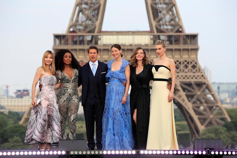 Leading ladies: Tom Cruise with Alix Benezech, Angela Bassett, Michelle Monaghan, Rebecca Ferguson and Vanessa Kirby (Reuters)