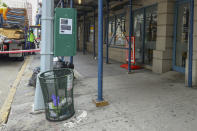 <p>The scaffolding has returned as renovations begin on the building where the engine landed, on the corner of Church and Murray Streets, several blocks from the World Trade Center site, on Sept. 7, 2018. (Photo: Gordon Donovan/Yahoo News) </p>