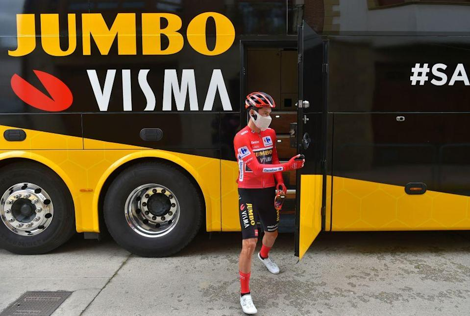 Team Jumbos Slovenian rider Primoz Roglic gets ready for the start of the 3rd stage of the 2020 La Vuelta cycling Tour of Spain a 1661 km race from Lodosa to La Laguna Negra on October 22 2020 Photo by ANDER GILLENEA  AFP Photo by ANDER GILLENEAAFP via Getty Images