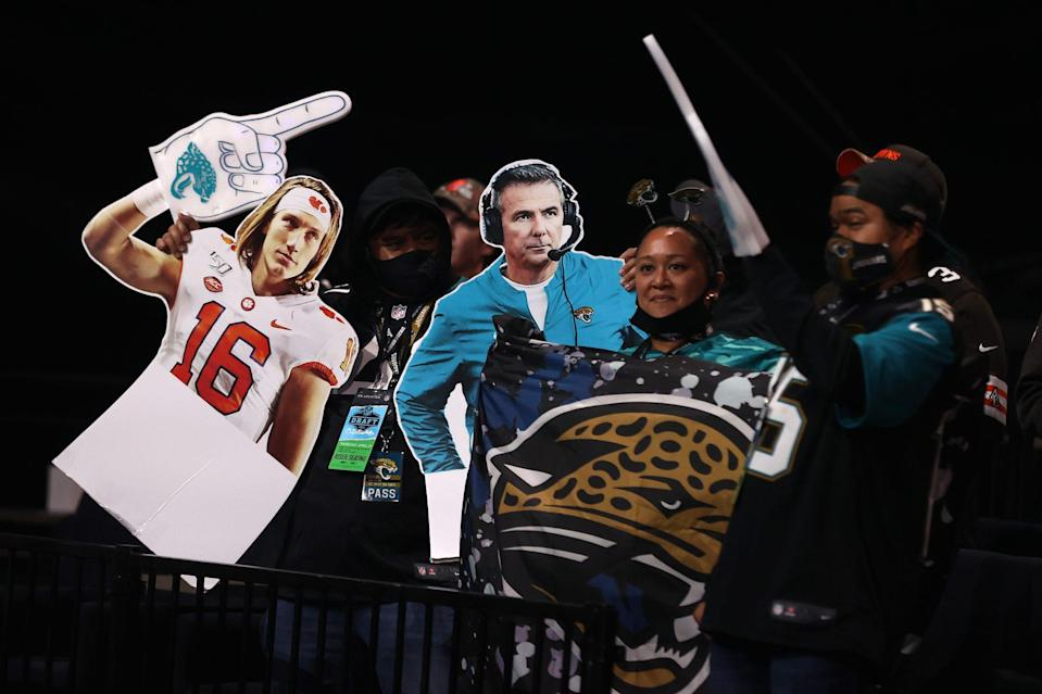 <p>Even No. 1 pick Trevor Lawrence, who participated from South Carolina, got in the action in Cleveland — well, at least a cut-out version of the athlete.</p>