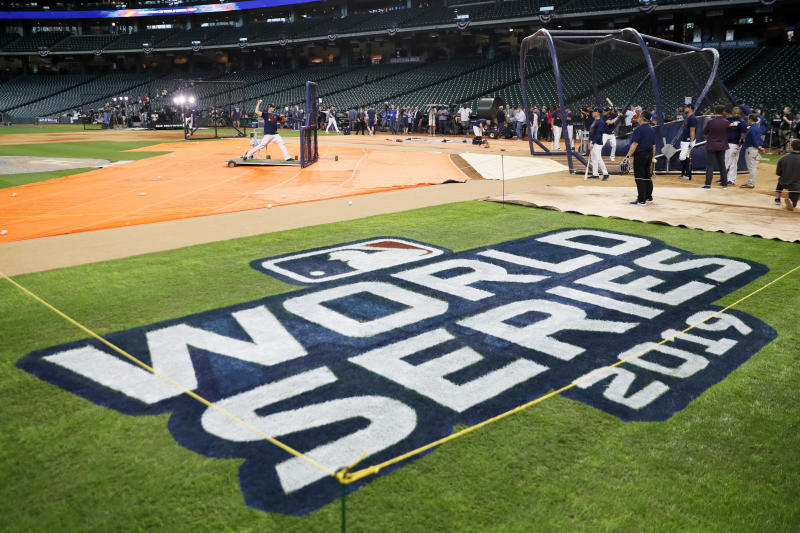 Houston Astros take batting practice for baseball's World Series Monday, Oct. 21, 2019, in Houston. The Houston Astros face the Washington Nationals in Game 1 on Tuesday. (AP Photo/Matt Slocum)