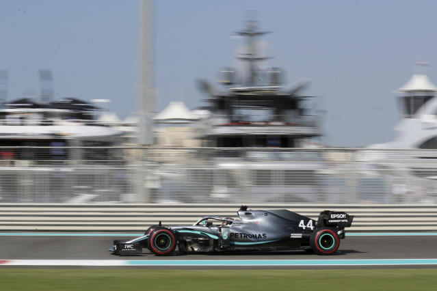 Mercedes driver Lewis Hamilton of Britain steers his car during the first free practice at the Yas Marina racetrack in Abu Dhabi, United Arab Emirates, Friday, Nov. 29, 2019. The Emirates Formula One Grand Prix will take place on Sunday. (AP Photo/Kamran Jebreili)