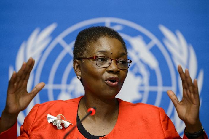 United Nations Under-Secretary-General for Humanitarian Affairs and Emergency Relief Coordinator, Valerie Amos talks during a press conference on global aid to fight the Ebola outbreak in west Africa on September 16, 2014 at UN offices in Geneva (AFP Photo/Fabrice Coffrini)