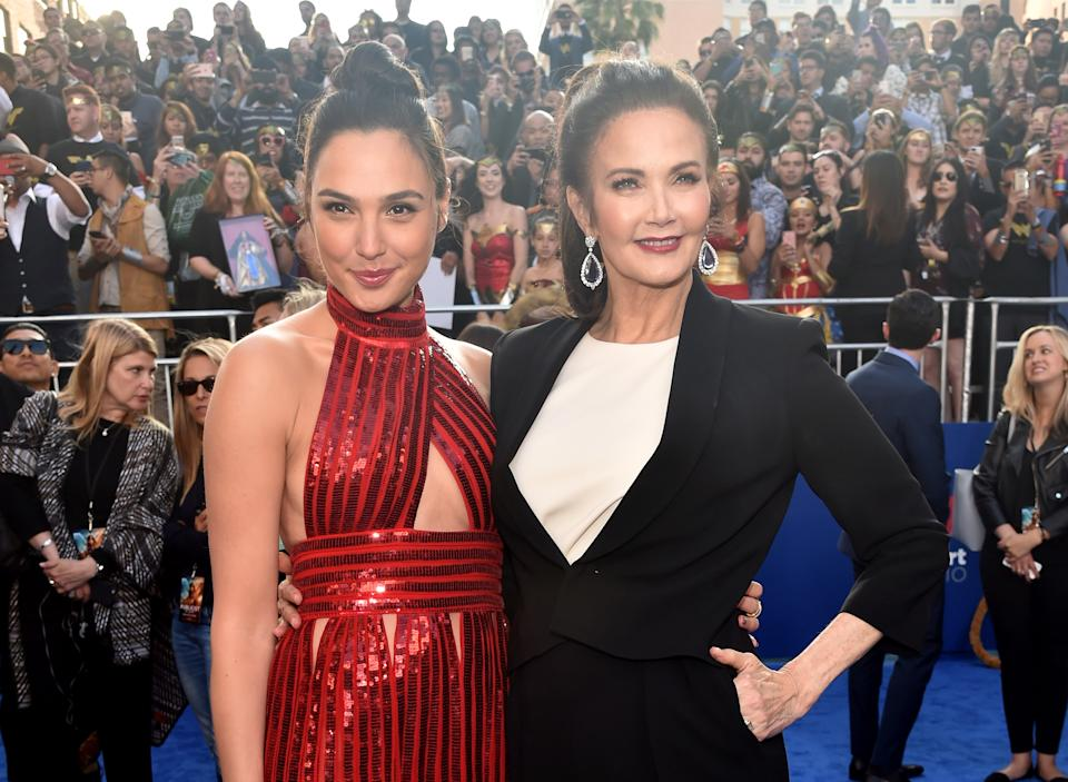 """Gal Gadot and Lynda Carter attend the premiere of Warner Bros. Pictures' """"Wonder Woman"""" on May 25, 2017. (Photo by Alberto E. Rodriguez/Getty Images)"""