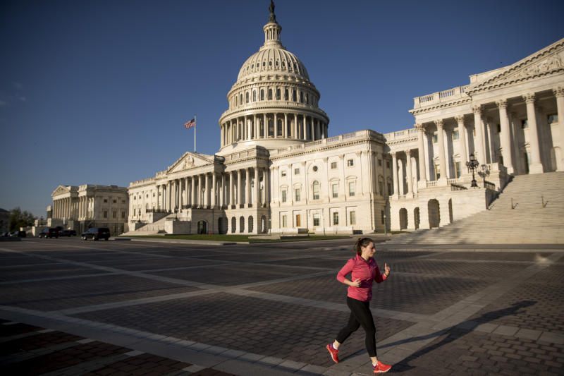 The Capitol is seen as House lawmakers prepare to debate emergency coronavirus response legislation on Capitol Hill, Friday, March 27, 2020, in Washington. (AP Photo/Andrew Harnik)