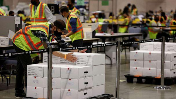 PHOTO: Votes are counted at the Pennsylvania Convention Center on Election Day in Philadelphia, Nov. 3, 2020. (Rachel Wisniewski/Reuters)