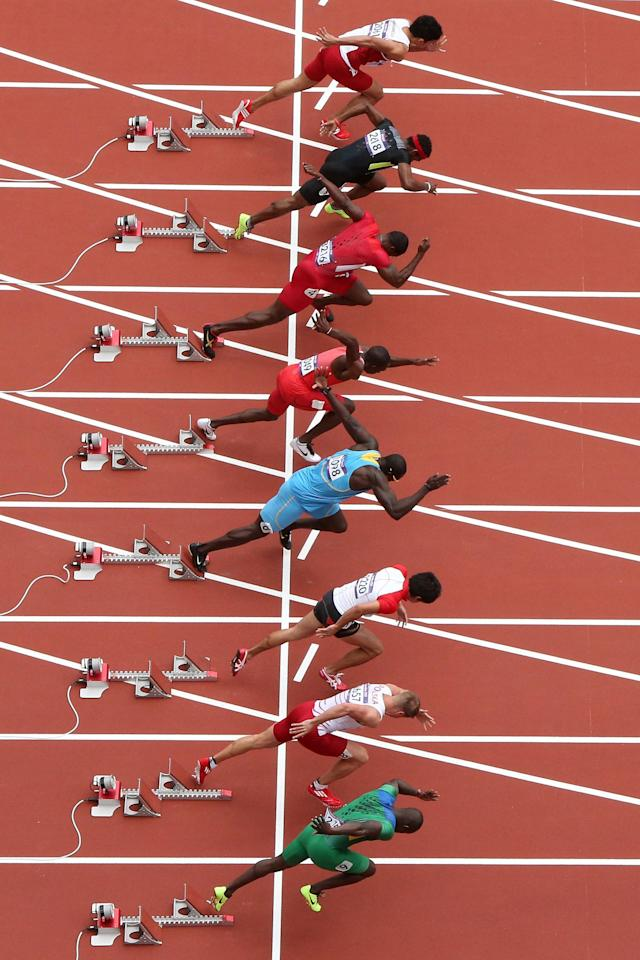 LONDON, ENGLAND - AUGUST 04: Justin Gatlin of the United States (lane 4) starts in the Men's 100m Round 1 Heats on Day 8 of the London 2012 Olympic Games at Olympic Stadium on August 4, 2012 in London, England. (Photo by Ian Walton/Getty Images)