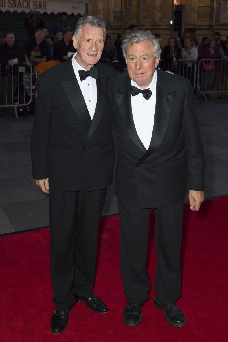 Michael Palin (L) and Terry Jones arrive for the 25th British Academy Cymru Awards at St David's Hall on October 2, 2016 in Cardiff, Wales. (Photo by Matthew Horwood/Getty Images)