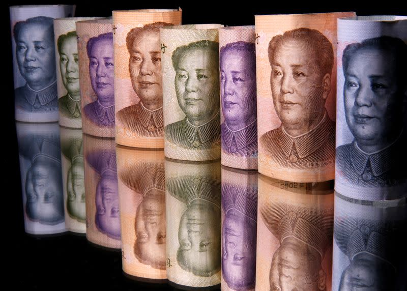 Chinese Yuan banknotes are seen in this illustration