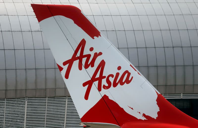 Tail of AirAsia X plane as seen at the Garuda Maintenance Facility AeroAsia in Tangerang