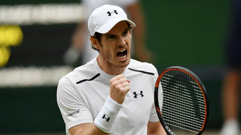 Andy Murray roars with delight during Tsonga battle at Wimbledon