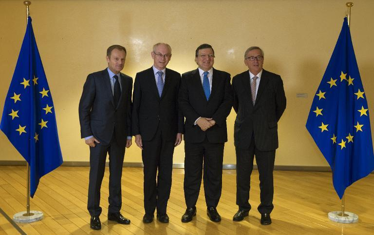 From left: EU Council President-elect Donald Tusk, outgoing EU Council President Herman Van Rompuy, outgoing EU Commission Chairman Jose Manuel Barosso and EU Commission Chairman-elect Jean-Claude Juncker on October 30, 2014 at EU headquarters