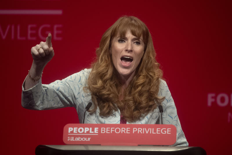 Shadow education secretary Angela Rayner gives a speech during the Labour Party Conference at the Brighton Centre in Brighton.