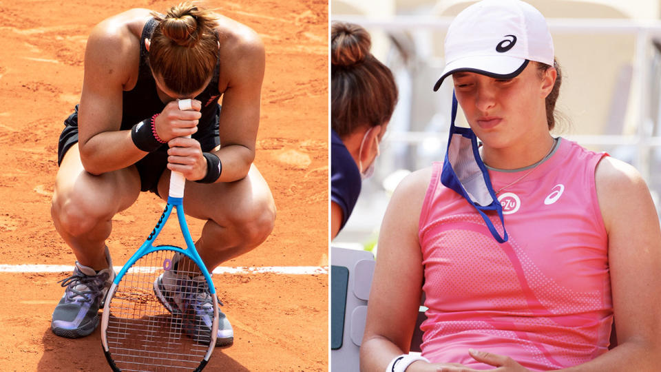 Maria Sakkari and Iga Swiatek, pictured here in action at the French Open.