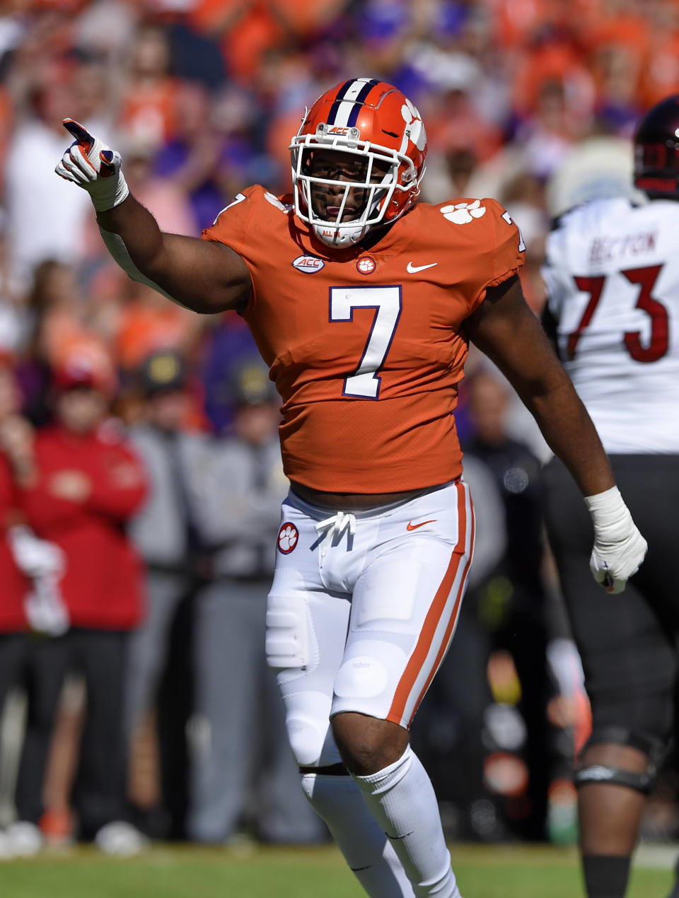 Clemson's Austin Bryant reacts after a tackle during the first half of an NCAA college football game against Louisville Saturday, Nov. 3, 2018, in Clemson, S.C. (AP Photo/Richard Shiro)
