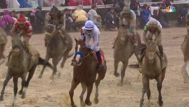 Justify and Mike Smith remained nearly dirt-free in their run to the roses in the 144th running of the Kentucky Derby. (NBC screenshot)