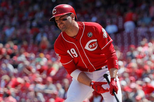 """<a class=""""link rapid-noclick-resp"""" href=""""/mlb/players/7946/"""" data-ylk=""""slk:Joey Votto"""">Joey Votto</a> and the Reds have been a pitching streamer's dream of late. (AP Photo/John Minchillo)"""