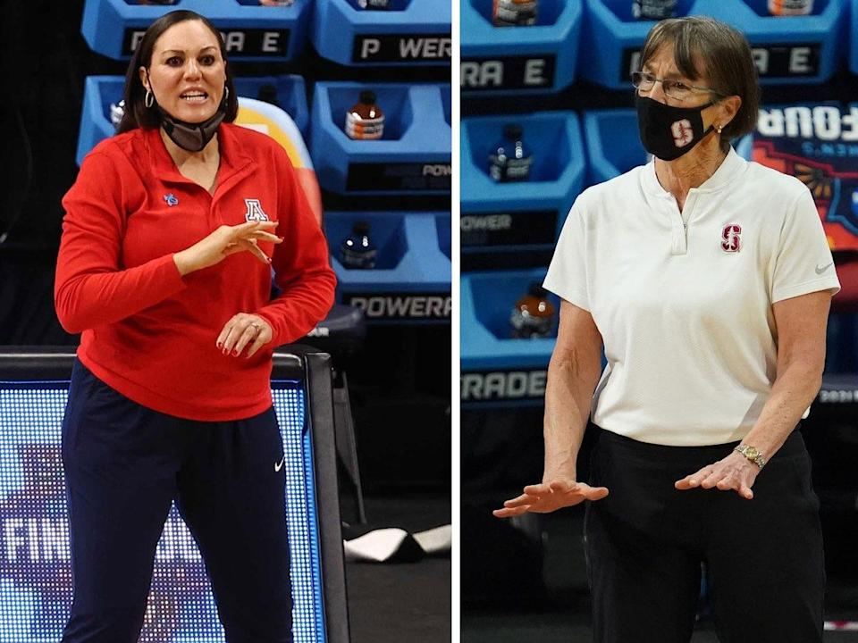 Arizona head coach Adia Barnes, left, and Stanford head coach Tara VanDerveer, right, will lead their teams in the 2021 NCAA women's basketball championship game.