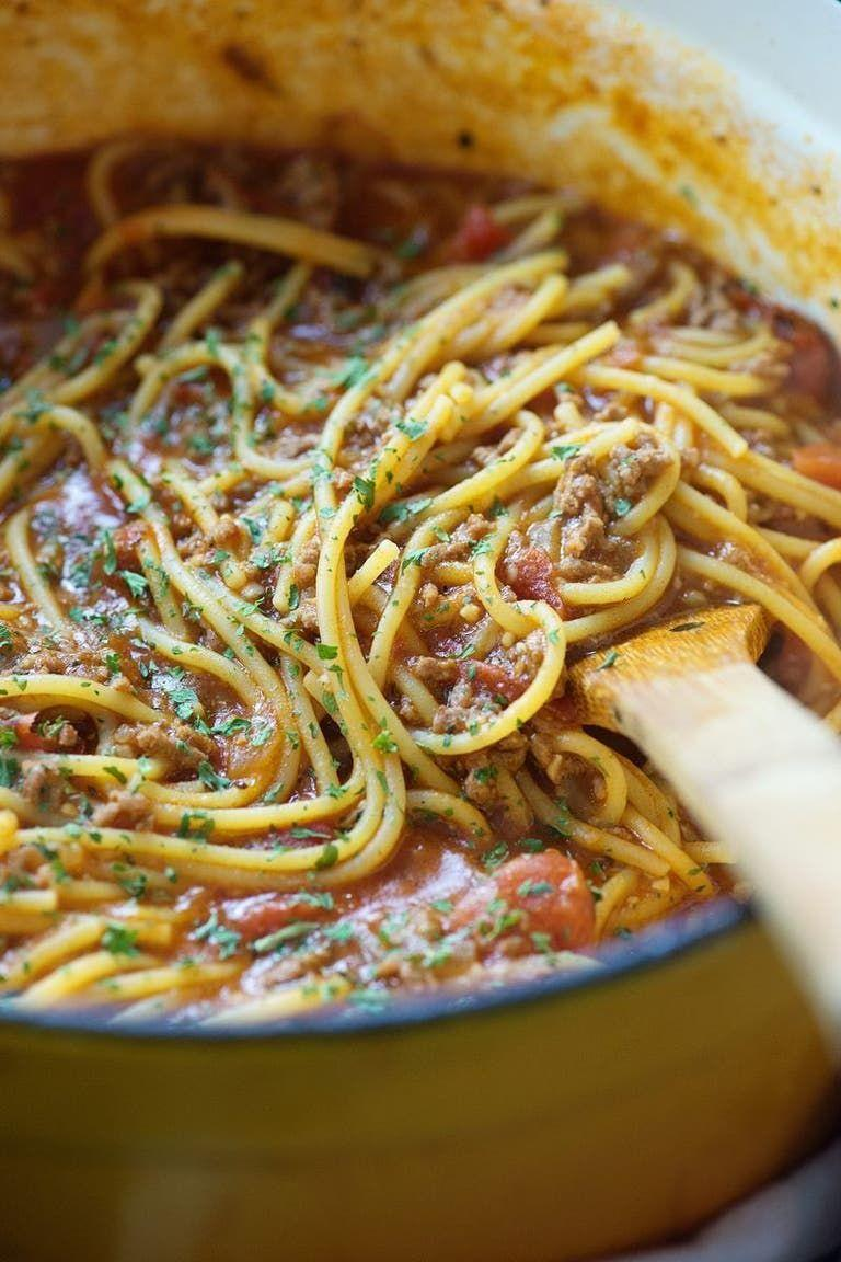 """<p>The less dishes to wash, the better.</p><p>Get the <a href=""""https://www.delish.com/uk/cooking/recipes/a32751555/one-pot-spaghetti-recipe/"""" rel=""""nofollow noopener"""" target=""""_blank"""" data-ylk=""""slk:One Pot Spaghetti Bolognese"""" class=""""link rapid-noclick-resp"""">One Pot Spaghetti Bolognese</a> recipe.</p>"""